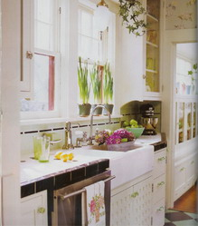 Черно-белый интерьер кухни с яркими акцентами.